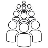 Group of outlines of ten people vector illustration