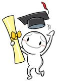 Icon Gugu is a graduate. Holding a certificate Royalty Free Stock Photo