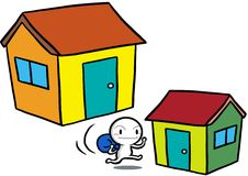 Icon Gugu moving house Stock Photography