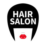 Icon for hairdresser. Vector flat logo for hair salon. Girl, face with black bob, long bangs and red lips. Fashion sticker, label stock illustration