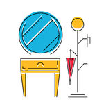 Icon of Hall room interior. Modern furniture for hall. Vector illustration Royalty Free Stock Photos