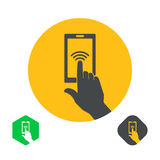 Icon a hand finger. On the touch screen of phone. A vector illustration in flat style Stock Photography