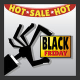 Icon of hand with title. Black friday. Vector illustration Stock Photos