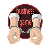 Icon on the handcuffs hands Royalty Free Stock Image