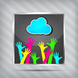 Icon with happy hands and blue cloud Royalty Free Stock Image