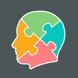 Icon of a head cut into jigsaw puzzle pieces. Icon of a head cut into four jigsaw puzzle pieces colored pink, orange, aqua and green, vector illustration stock illustration