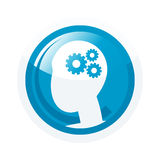 Icon with head and gears. Illustrated blue glossy icon with a cartoon head filled with gears isolated against a white background Stock Photo