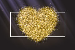 Icon of Heart with gold sparkles and glitter Royalty Free Stock Photography
