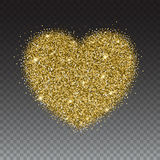 Icon of Heart with gold sparkles and glitter Stock Photo