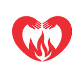 Icon of the heart. Hands in heart-shaped embrace the flame Stock Photography