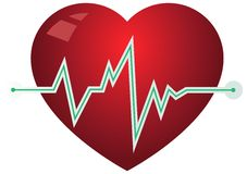 Icon heart with pulse graph Stock Image