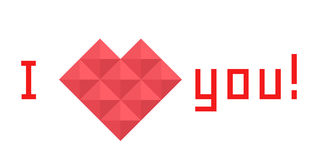 Icon heart of triangles, banner, I love you Stock Photo