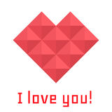 Icon heart of triangles, banner, I love you Royalty Free Stock Images