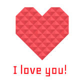 Icon heart of triangles, banner, I love you Stock Photography