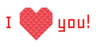 Icon heart of triangles, banner, I love you Royalty Free Stock Photo