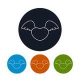 Icon heart with wings, vector illustration Royalty Free Stock Image