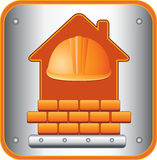 Icon with helmet, house and bricks Stock Photography