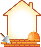 Icon with helmet, trowel, bricks and house. With space for text Stock Images