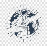 Icon helping hands  black. Icon helping hands in the linear style. Help icon. black and white illustration Royalty Free Stock Image