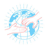 Icon helping hands. In the linear style. Help icon Royalty Free Stock Images