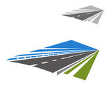 Icon of highway disappearing beyond horizon. Icon of speedy highway or freeway with blue sky abstract disappearing beyond the horizon. Travel or vacation theme Stock Images