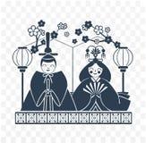 Icon Hinamatsuri  Japan Black white. Icons Japanese emperor and empress dolls Icon in the linear style. Black white illustration Royalty Free Stock Images