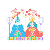 Icon Hinamatsuri  Japan. Icons Japanese emperor and empress dolls Icon in the linear style Royalty Free Stock Photos