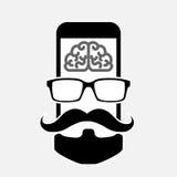 Icon_hipster de Smartphone com barba e bigode dos vidros Fotos de Stock Royalty Free