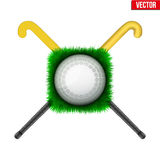 Icon Hockey ball and sticks. Icon Hockey ball on green grass and sticks. Sport symbol. Vector Illustration  on white background Royalty Free Stock Photos