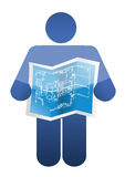 Icon holding a blueprint. illustrations design. Over a white background vector illustration