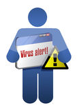 Icon holding a browser with a virus alert. Royalty Free Stock Image