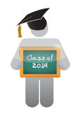 Icon holding a class of 2014 chalkboard. Stock Photos