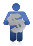 Icon holding a currency Royalty Free Stock Photos