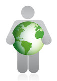 Icon holding a globe Stock Photography