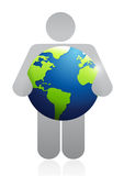 Icon holding a globe. illustration design Royalty Free Stock Image