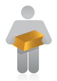Icon holding gold Royalty Free Stock Images