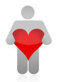 Icon holding a heart. Illustration design over a white background Royalty Free Stock Images