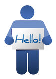 Icon holding a hello sign illustration design. Over white Royalty Free Stock Images