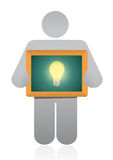 Icon holding a idea light bulb illustration design Royalty Free Stock Image