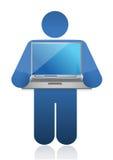 Icon holding laptop Royalty Free Stock Image