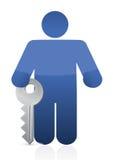 Icon holding a large key illustration design Stock Images