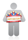 Icon holding a new years sign Royalty Free Stock Photo