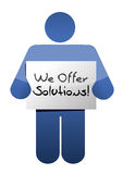 Icon holding a we offer solutions sign. Stock Photo