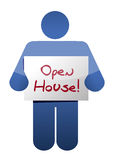 Icon holding an open house sign Royalty Free Stock Photography