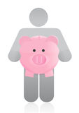 Icon holding a piggy bank Stock Images