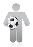 Icon holding a soccer ball illustration design Stock Photo