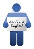 Icon holding a we speak english sign. Royalty Free Stock Image