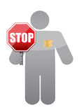 Icon holding a stop sign. sheriff authority Stock Photos