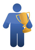Icon holding a trophy. Illustration design over a white background Royalty Free Stock Photos