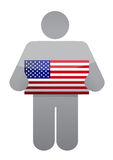 Icon holding a us flag. illustration design Royalty Free Stock Photo